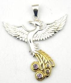 Phoenix rising pendant i want this but in silver p pin sterling silver and gold rising phoenix pendant with amethyst a beautifully detailed sophisticated phoenix aloadofball Images