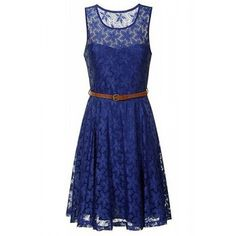 $16.63 Ladylike Style Round Collar Sleeveless Solid Color Pleated Lace Women's Dress
