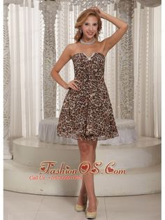 Multi-color Leopard A-line V-neck Mini-length Customize Cocktail Dress For Summer- $96.55  http://www.fashionos.com  | free shipping prom dress | prom dress on sale | affordable prom dress | where to buy prom dress | prom dress online shop | prom dress websites | low price prom dress |