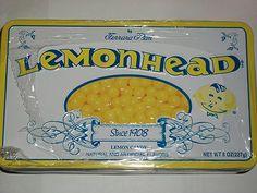 Lemonhead Candy with Collectible Tin Lemon Retro Hard Heads Lemonheads Lemonhead Candy, Ferrara Pan, Lemon Head, Hard Candy, Tins, Lemonade, Sweet Tooth, Retro, Tin Cans