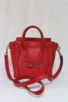 Celine Coquelicot Red Pebbled Leather Nano Messenger Bag