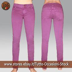 Baci&Abbracci Pantalone lungo Donna Stretto Made in Italy Viola