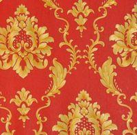 Relevo 3d vinil papel de parede do damasco vermelho roxo verde pvc lavável à prova d' água papel de parede 3d