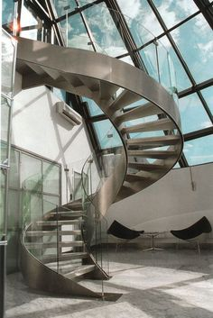 Winding staircase in an office building #stairway #office http://www.ironageoffice.com/