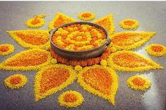 Rangoli Designs Flower, Rangoli Patterns, Rangoli Ideas, Rangoli Designs Diwali, Flower Rangoli, Easy Rangoli, Diwali Decoration Lights, Diwali Decorations At Home, Festival Decorations