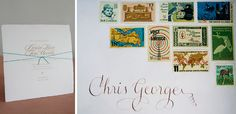 the vintage stamps for this wedding invitation took a long time to perfect. calligraphy by aleksey shirakov.