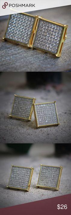 Men S Hip Hop Gold Stud Earrings Women Large Square Flat Screen Rhodium