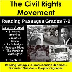 Civil Rights come to life for students. This product contains FIFTEEN Reading passages with comprehension questions, graphic organizers and discussion questions that help students make an emotional connection, connect to current events Secondary Resources, School Resources, Teacher Resources, Learning Resources, Study Board, Social Studies Activities, Social Behavior, Emotional Connection, Civil Rights Movement