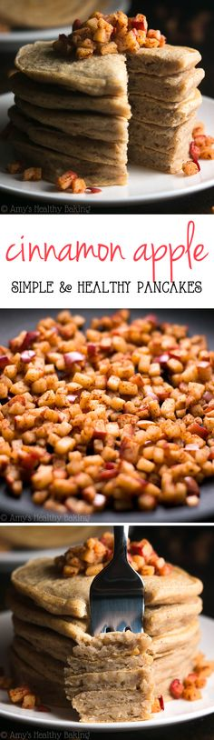 Healthy Cinnamon Apple Pancakes -- only 150 calories! Like eating apple pie for breakfast! An amazing Mother's Day breakfast!