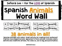 Spanish Animals Word Wall - Begin building a strong foundation of easy to learn vocabulary words with these big and bold, black and white bricks that are easily read from the back of the room. Each brick is 2.5 inches tall with varying lengths. Great way to introduce noun/adjective agreement and how to form plurals.