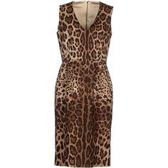 Dolce & Gabbana Knee-length Dress ($690) ❤ liked on Polyvore featuring dresses, beige, leopard print dress, sleeveless v neck dress, cotton dress, dolce gabbana dresses and pocket dress