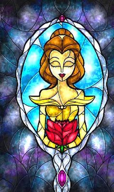 Beuty and the Beast Disney Stained Glass 5 Cross Stitch Pattern Counted Cross Stitch Chart, Pdf Format, Instant Download /165275 by icrossstitchpattern on Etsy