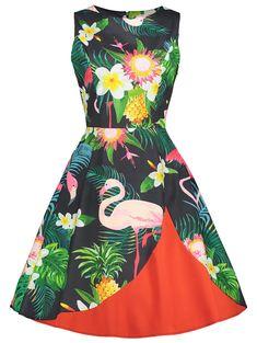 Flamingo Floral Print Sleeveless Vintage Dress - FLORAL M