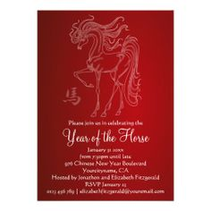 Invitations for the Chinese Year of the Horse New Year Party in 2014 featuring an etching style illustration of a horse on a red background. Customize the text for your own party Chinese New Year Party, Chinese New Year Poster, New Years Poster, New Years Party, Year Of The Horse, Year Of The Pig, Personalized Invitations, Party Invitations, Horse Party