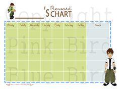 Boys Ben 10 Reward / Chore Chart Printable PDF by pinkbirdbluebird, $6.00