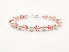 Bracelet made of Czech crystals and pearls river with silver pieces. (0.950 law)
