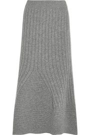 Stella McCartney Flared ribbed wool midi skirt
