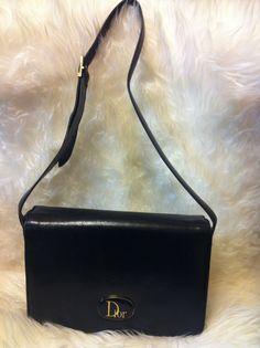 b7698bfc10 80 s Christian Dior Vintage leather black shoulder by eNdApPi