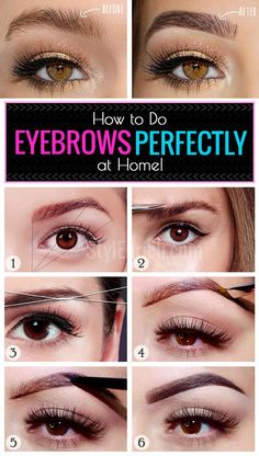 Eyebrow Makeup : How to Do Eyebrows Perfectly at Home? Perfectly shaped eyebrows frame your eyes and define your face. But it is not necessary to rush to a beauty parlour to keep them in shape. Rather you can learn how to do eyebrows at home and master … Perfect Eyebrow Shape, Perfect Eyes, Perfect Eyebrows, Perfect Makeup, Amazing Makeup, Beauty Hacks Lips, Beauty Makeup Tips, Makeup Tools, Makeup Tutorials