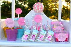 Pink Birthday Candy Cart