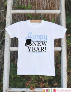 Happy New Year Outfit - Kids Happy New Years Eve Onepiece or T-shirt - Kids New Years Eve Shirt - Boys New Year Outfit - Blue Tophat