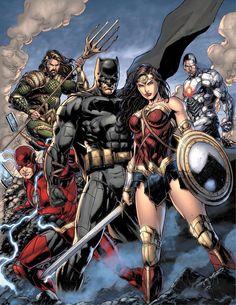 Justice League Movie Poster (Comic Version) by SaintAldebaran on DeviantArt Marvel Comics, Arte Dc Comics, Gotham Comics, Marvel Vs, Superhero Villains, Superman Wonder Woman, Dc Comics Characters, Dc Movies, Marvel Heroes