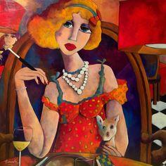 Coup de cœur du concours peinture toutes techniques sur www.myrankart.com Pauline Et Son Chien Biscotte   100x100 Cm   Acrylique Sur Toile   Fauve Artiste Peintre by Martine DECHAVANNE