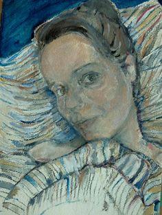 #selportrait #oilpainting #paper #colors #inthebed #painting #portrait #art