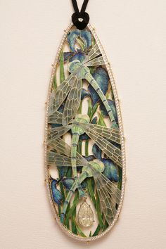 """Ilgiz """"Dragonfly"""" pendant with plique-à-jour enamelling."""
