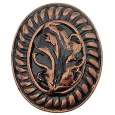 Solid Pewter Oak Leaf Knob (Antique Copper Finish): measures 1 1/2 inches long and 1 1/8 inches wide with a projection of 3/4 inch. Comes complete with the mounting hardware. Shown in a Antique Copper finish. Available finishes include Pewter Matte, Pewter Bright, Satin Pewter, Brushed Pewter, Matte Black, Bronze, Rubbed Bronze, Antique White, Antique Copper, Verdigris, Antique Brass Gold, Iron Red, Rust, Black Terra Cotta and Black Copper Wash.