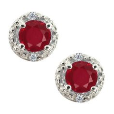 0.44 Ct Round Red Ruby and White Diamond 18k White Gold Earrings Gem Stone King. $224.99. This item is proudly custom made in the USA. This Item Contains 100% Natural Stones. Save 75%!