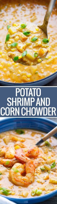 and Corn Chowder Shrimp and Corn Chowder - Loaded with potatoes and lots of flavor - this chowder is perfect with lots of crusty bread!Shrimp and Corn Chowder - Loaded with potatoes and lots of flavor - this chowder is perfect with lots of crusty bread! Chowder Recipes, Soup Recipes, Seafood Dishes, Seafood Recipes, Salmon Recipes, Crockpot Recipes, Cooking Recipes, Shrimp Recipes For Dinner, Good Food