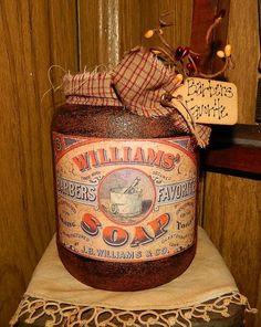 Primitive Williams Soap Barbers Favorite Label Grubby Glass Jar Bath Farmhouse #NaivePrimitive #ThymeForgottenTreasures