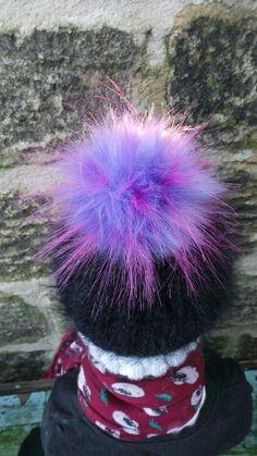 7b10b44a22ad3 Violet Aurora Pom Pom Faux fur Detachable press stud. quality fur Handmade  in UK