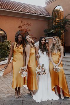 Mustard Bridesmaid Dresses, Unique Bridesmaid Dresses, Yellow Bridesmaid Dresses, Wedding Bridesmaids, Bride Maid Dresses, Bridal Party Dresses, Bridesmaid Proposal, Gold Wedding Gowns, Yellow Wedding