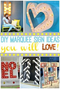 10 Different Ways to Display Subway Art In Your Home Diy Marquee Letters, Marquee Sign, Marquee Lights, Rustic Crafts, Decor Crafts, Diy Home Decor, Diy Furniture Projects, Diy Projects, Outdoor Projects