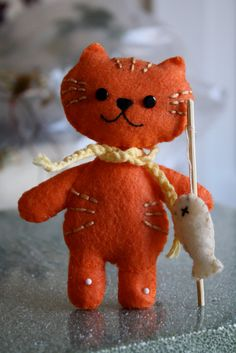Orange kitty with catch