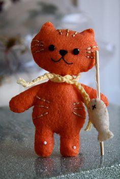 Orange kitty with catch