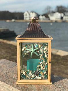 Large Beach Glass Lantern with Shells and Starfish Glass Art