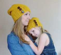 dd749145ad00dd Items similar to Mommy and Me Matching Knit Slouch Hats in Mustard Yellow  with Coconut Buttons, Mother Daughter Beanies, Knit Toddler Hat - Knit  Womens Hat ...