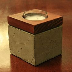 Concrete and Wood Votive Candle Holder by formd on Etsy, $20.00- love concrete accessories for the home