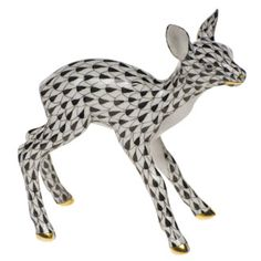 "Herend Hand Painted Porcelain Figurine ""Fawn"" Black Fishnet Gold Accents."