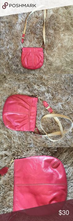 Hot Pink patent leather youth size coach purse Youth size coach satchel two pocket hot Pink purse  One pocket has zipper other is open My sister used while she was younger and then I took it to use for a while. Picture of me wearing it and I am 5 foot tall.  Few blemishes but overall not noticeable and the straps are dirty from use. Coach Accessories Bags