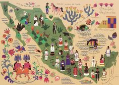 Map of Mexican traditional dresses.