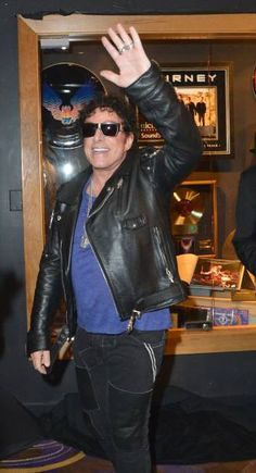 Journey band member Neal Schon arrives at the Journey Memorabilia Case dedication at the Hard Rock Hotel & Casino on May 3, 2017 in Las Vegas, Nevada.