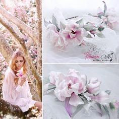 """Купить Венок на голову с цветами магнолии - """"Суланжа"""" Цветы из шелка. - бледно-розовый, венок для волос"""