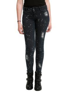 LOVEsick Crackle Bleach Splattered Super Skinny Jeans | Hot Topic