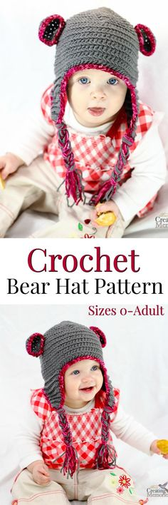 A comfortable and cute Teddy Bear crochet baby hat with earflaps. Pattern includes size variations for newborn through adult + gift basket ideas for a new mom #BearyMerryVTechMom @VTechUSA AD