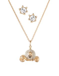 Disney Couture | Disney Couture 14ct Gold Plated Cinderella Carriage Pendant And Crystal Stud Earrings at ASOS