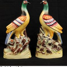 Pair of English Staffordshire Birds - 19th Century